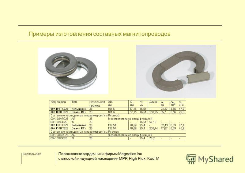 9октябрь 2007 Порошковые сердечники фирмы Magnetics Inc с высокой индукцией насыщения MPP, High Flux, Kool M Примеры изготовления составных магнитопроводов