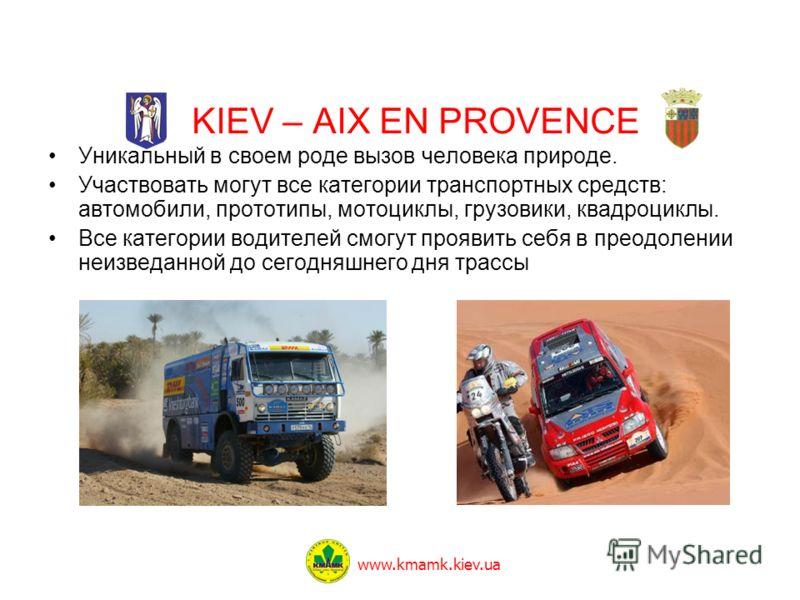 KIEV – AIX EN PROVENCE Уникальный в своем роде вызов человека природе. Участвовать могут все категории транспортных средств: автомобили, прототипы, мотоциклы, грузовики, квадроциклы. Все категории водителей смогут проявить себя в преодолении неизведа