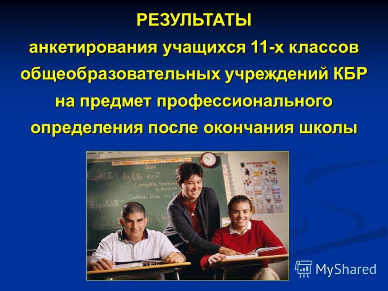 РЕЗУЛЬТАТЫ анкетирования учащихся 11-х классов общеобразовательных учреждений КБР на предмет профессионального определения после окончания школы