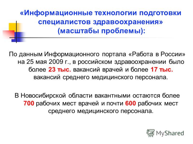 По данным Информационного портала «Работа в России» на 25 мая 2009 г., в российском здравоохранении было более 23 тыс. вакансий врачей и более 17 тыс. вакансий среднего медицинского персонала. В Новосибирской области вакантными остаются более 700 раб