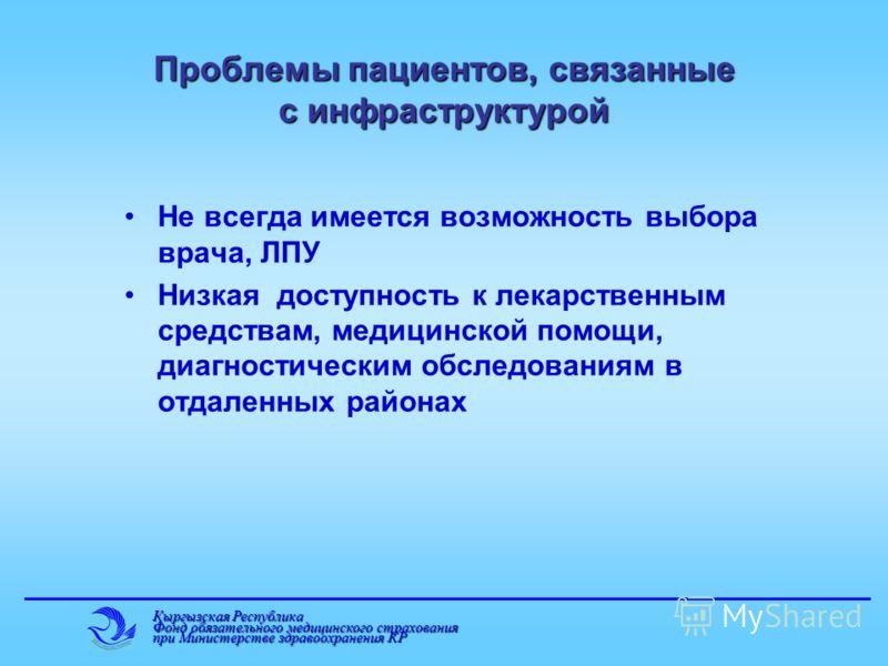 Кыргызская Республика Фонд обязательного медицинского страхования при Министерстве здравоохранения КР Проблемы пациентов, связанные с инфраструктурой Не всегда имеется возможность выбора врача, ЛПУ Низкая доступность к лекарственным средствам, медици