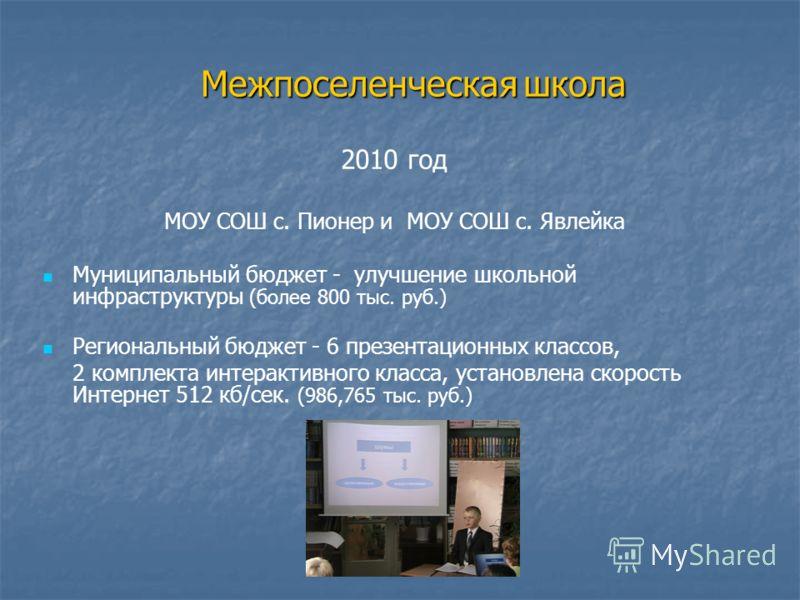 2010 год МОУ СОШ с. Пионер и МОУ СОШ с. Явлейка Муниципальный бюджет - улучшение школьной инфраструктуры (более 800 тыс. руб.) Региональный бюджет - 6 презентационных классов, 2 комплекта интерактивного класса, установлена скорость Интернет 512 кб/се