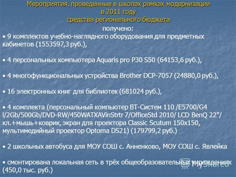 Мероприятия, проведенные в школах рамках модернизации в 2011 году средства регионального бюджета получено: 9 комплектов учебно-наглядного оборудования для предметных кабинетов (1553597,3 руб.), 4 персональных компьютера Aquaris pro P30 S50 (64153,6 р