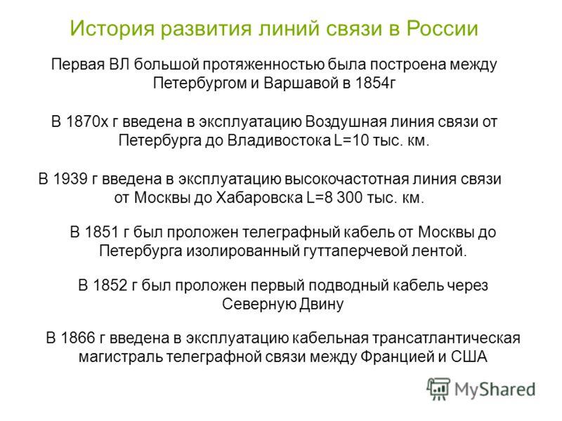 История развития линий связи в России Первая ВЛ большой протяженностью была построена между Петербургом и Варшавой в 1854г В 1870х г введена в эксплуатацию Воздушная линия связи от Петербурга до Владивостока L=10 тыс. км. В 1939 г введена в эксплуата