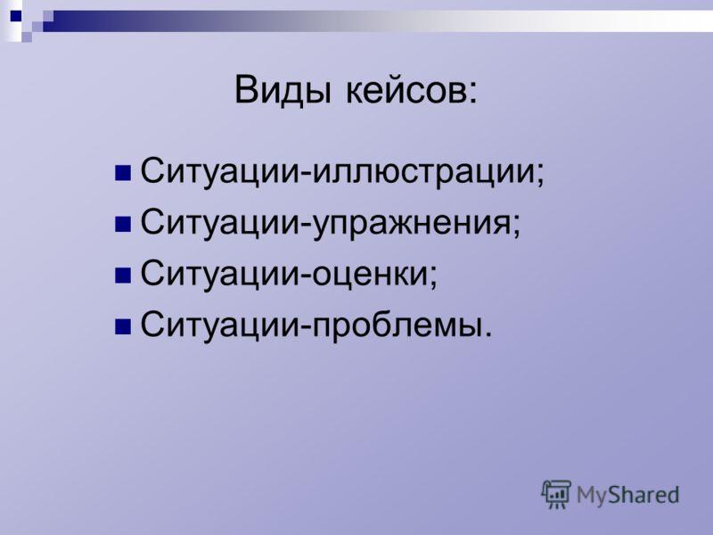 Виды кейсов: Ситуации-иллюстрации; Ситуации-упражнения; Ситуации-оценки; Ситуации-проблемы.