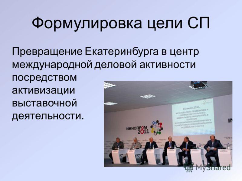 Формулировка цели СП Превращение Екатеринбурга в центр международной деловой активности посредством активизации выставочной деятельности.