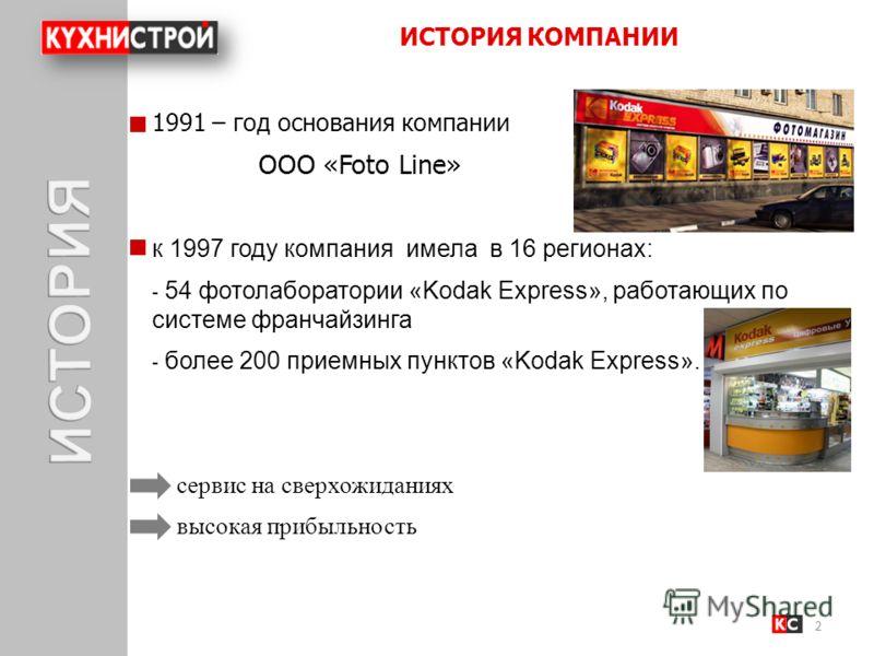 ИСТОРИЯ КОМПАНИИ 2 1991 – год основания компании ООО «Foto Line» к 1997 году компания имела в 16 регионах: - 54 фотолаборатории «Kodak Express», работающих по системе франчайзинга - более 200 приемных пунктов «Kodak Express». сервис на сверхожиданиях