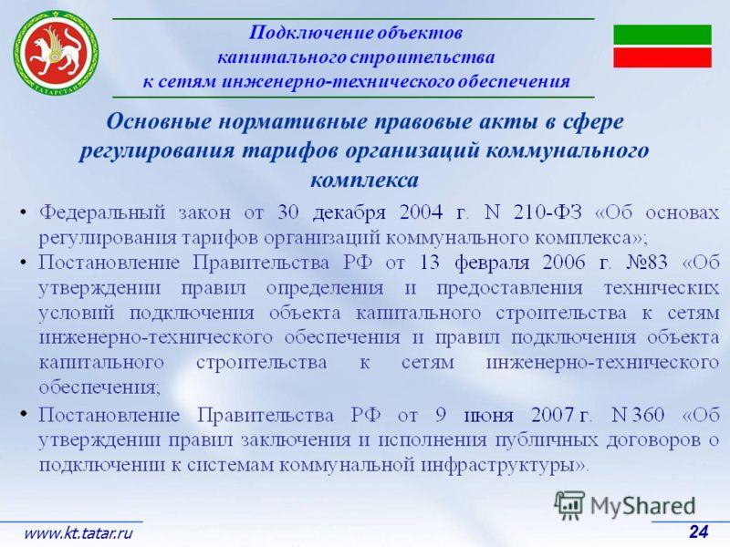 Подключение объектов капитального строительства к сетям инженерно-технического обеспечения 24 www.kt.tatar.ru Основные нормативные правовые акты в сфере регулирования тарифов организаций коммунального комплекса