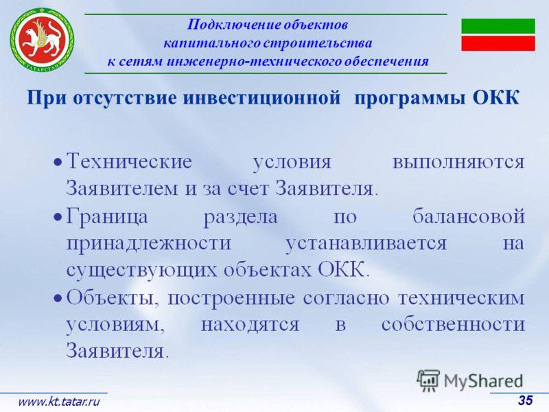 Подключение объектов капитального строительства к сетям инженерно-технического обеспечения 35 www.kt.tatar.ru При отсутствие инвестиционной программы ОКК
