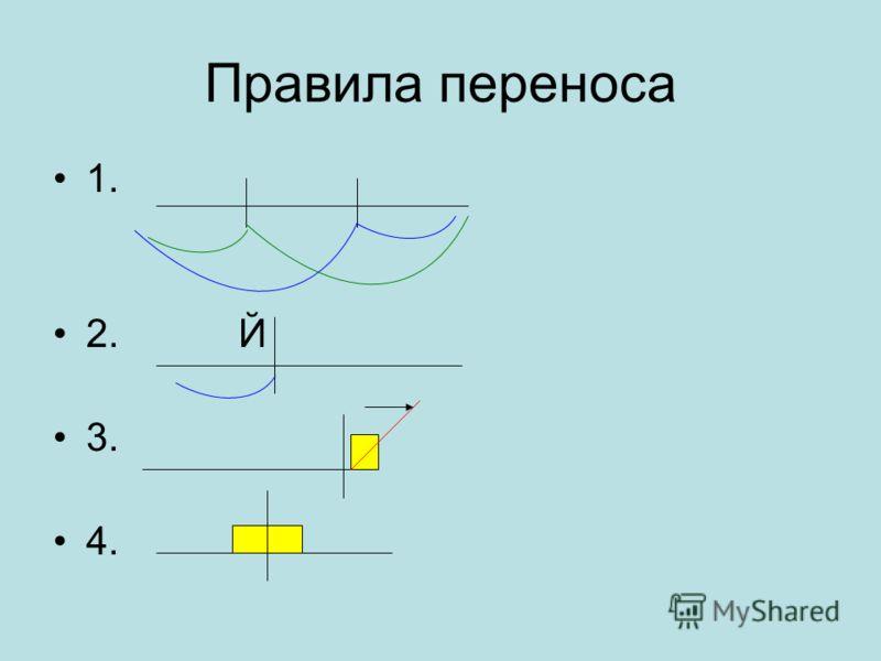 Правила переноса 1. 2. Й 3. 4.
