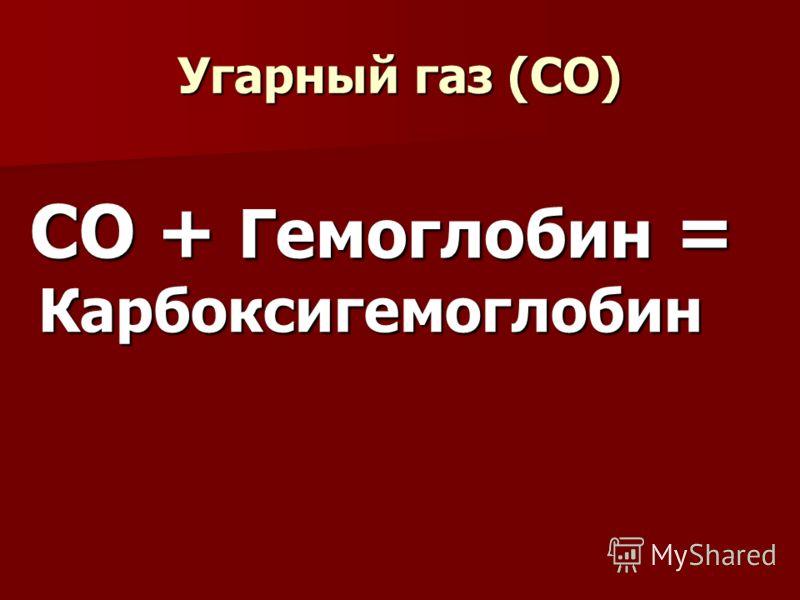 Угарный газ (СО) СО + Гемоглобин = Карбоксигемоглобин СО + Гемоглобин = Карбоксигемоглобин