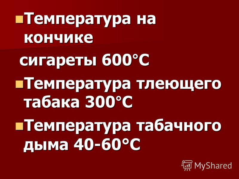 Температура на кончике Температура на кончике сигареты 600°С сигареты 600°С Температура тлеющего табака 300°С Температура тлеющего табака 300°С Температура табачного дыма 40-60°С Температура табачного дыма 40-60°С