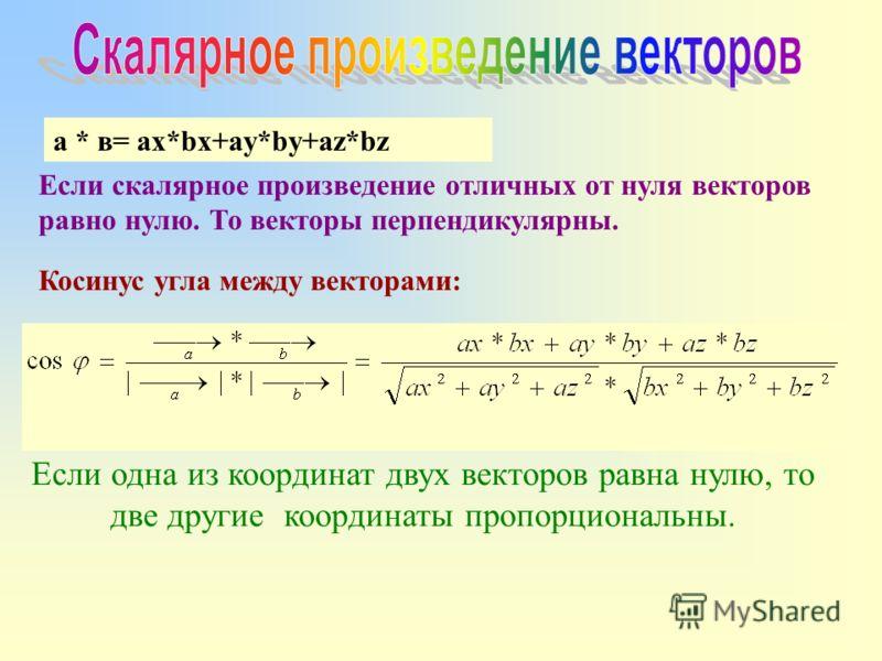 а * в= ax*bx+ay*by+az*bz Если скалярное произведение отличных от нуля векторов равно нулю. То векторы перпендикулярны. Косинус угла между векторами: Если одна из координат двух векторов равна нулю, то две другие координаты пропорциональны.