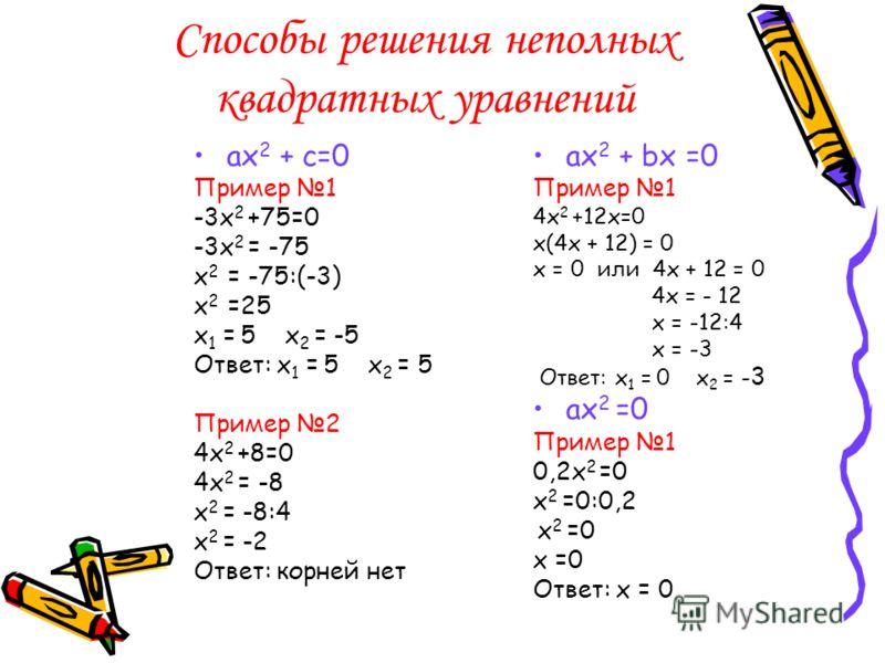 Способы решения неполных квадратных уравнений ах 2 + c=0 Пример 1 -3х 2 +75=0 -3х 2 = -75 х 2 = -75:(-3) х 2 =25 х 1 = 5 х 2 = -5 Ответ: х 1 = 5 х 2 = 5 Пример 2 4х 2 +8=0 4х 2 = -8 х 2 = -8:4 х 2 = -2 Ответ: корней нет ах 2 + bx =0 Пример 1 4х 2 +12