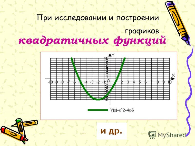 При исследовании и построении графиков квадратичных функций