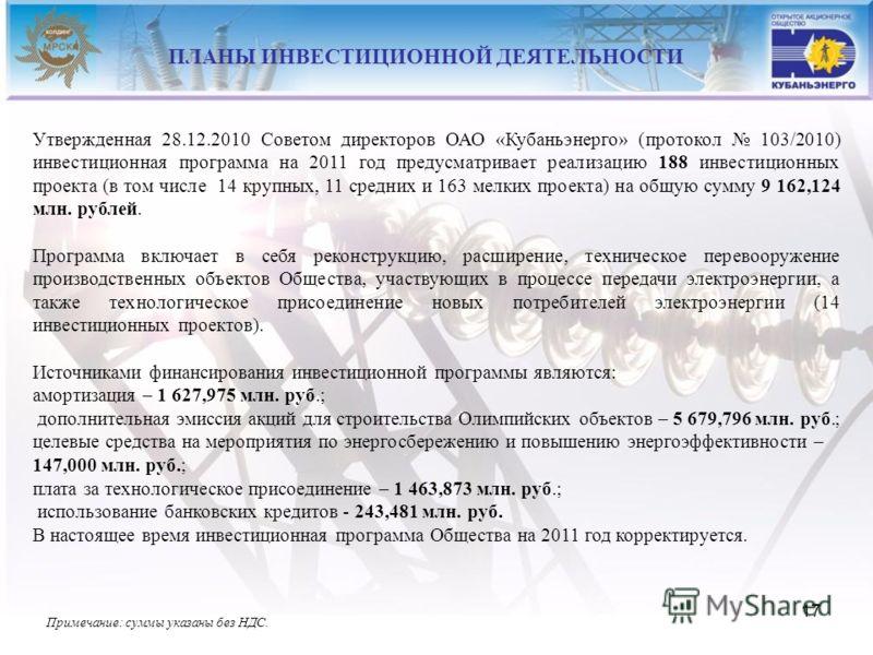 17 Утвержденная 28.12.2010 Советом директоров ОАО «Кубаньэнерго» (протокол 103/2010) инвестиционная программа на 2011 год предусматривает реализацию 188 инвестиционных проекта (в том числе 14 крупных, 11 средних и 163 мелких проекта) на общую сумму 9