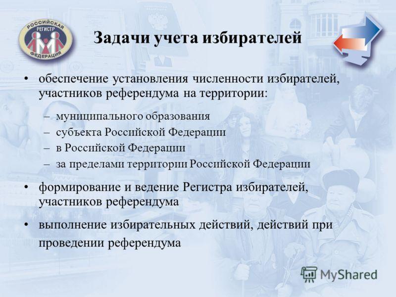Задачи учета избирателей обеспечение установления численности избирателей, участников референдума на территории: –муниципального образования –субъекта Российской Федерации –в Российской Федерации –за пределами территории Российской Федерации формиров