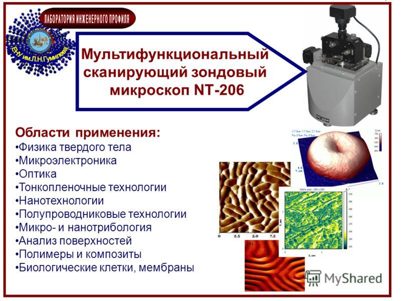 Области применения: Физика твердого тела Микроэлектроника Оптика Тонкопленочные технологии Нанотехнологии Полупроводниковые технологии Микро- и нанотрибология Анализ поверхностей Полимеры и композиты Биологические клетки, мембраны Мультифункциональны