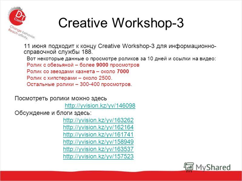Creative Workshop-3 11 июня подходит к концу Creative Workshop-3 для информационно- справочной службы 188. Вот некоторые данные о просмотре роликов за 10 дней и ссылки на видео: Ролик с обезьяной – более 9000 просмотров Ролик со звездами казнета – ок