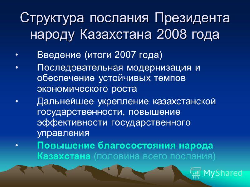 Структура послания Президента народу Казахстана 2008 года Введение (итоги 2007 года) Последовательная модернизация и обеспечение устойчивых темпов экономического роста Дальнейшее укрепление казахстанской государственности, повышение эффективности гос