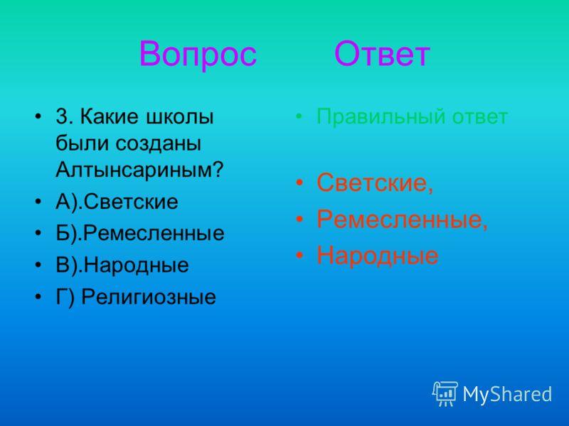 Вопрос Ответ 3. Какие школы были созданы Алтынсариным? А).Светские Б).Ремесленные В).Народные Г) Религиозные Правильный ответ Светские, Ремесленные, Народные
