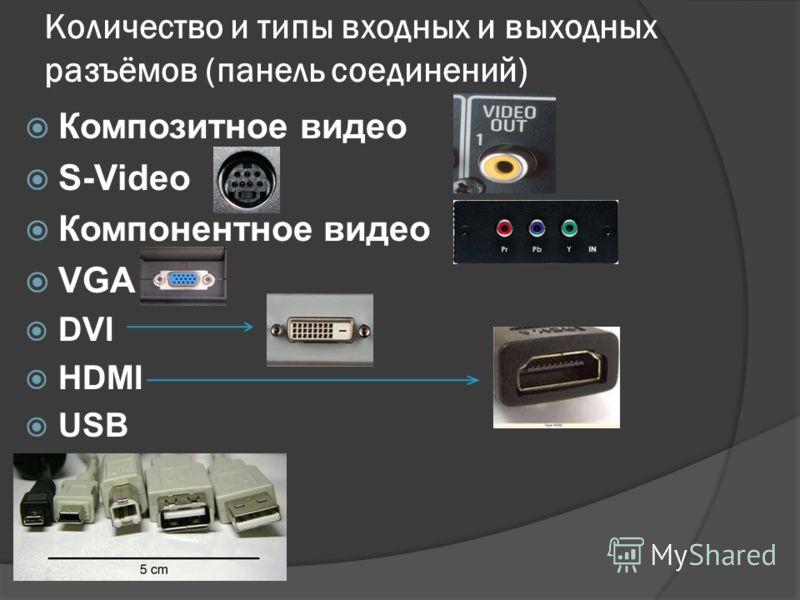 Количество и типы входных и выходных разъёмов (панель соединений) Композитное видео S-Video Компонентное видео VGA DVI HDMI USB