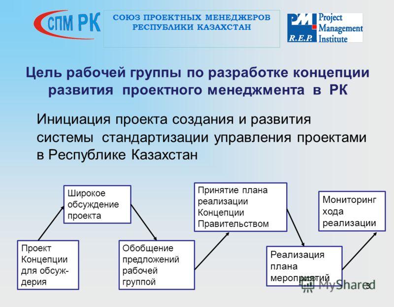 3 Цель рабочей группы по разработке концепции развития проектного менеджмента в РК Инициация проекта создания и развития системы стандартизации управления проектами в Республике Казахстан СОЮЗ ПРОЕКТНЫХ МЕНЕДЖЕРОВ РЕСПУБЛИКИ КАЗАХСТАН Проект Концепци