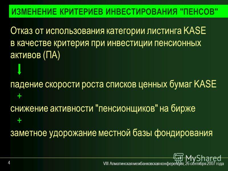 VIII Алматинская межбанковская конференция, 26 сентября 2007 года 4 Отказ от использования категории листинга KASE в качестве критерия при инвестиции пенсионных активов (ПА) падение скорости роста списков ценных бумаг KASE + снижение активности