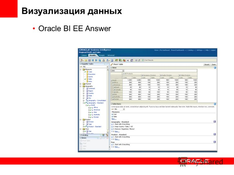 Визуализация данных Oracle BI EE Answer