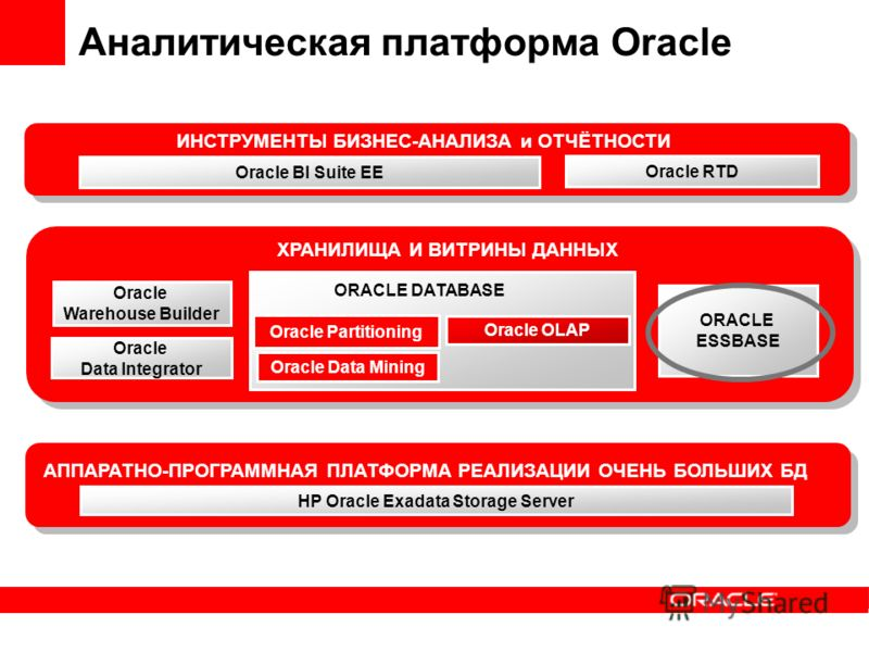 Oracle OLAP Oracle Data Mining Oracle Partitioning Oracle Warehouse Builder ХРАНИЛИЩА И ВИТРИНЫ ДАННЫХ ИНСТРУМЕНТЫ БИЗНЕС-АНАЛИЗА и ОТЧЁТНОСТИ Oracle Data Integrator ORACLE ESSBASE ORACLE DATABASE HP Oracle Exadata Storage Server АППАРАТНО-ПРОГРАММНА