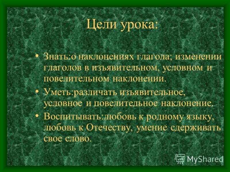 Тема: Наклонение глагола. (урок - сказка) Учитель: Шитова С.И.