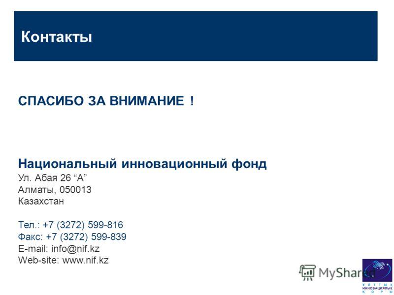 Контакты СПАСИБО ЗА ВНИМАНИЕ ! Национальный инновационный фонд Ул. Абая 26 A Алматы, 050013 Казахстан Тел.: +7 (3272) 599-816 Факс: +7 (3272) 599-839 E-mail: info@nif.kz Web-site: www.nif.kz