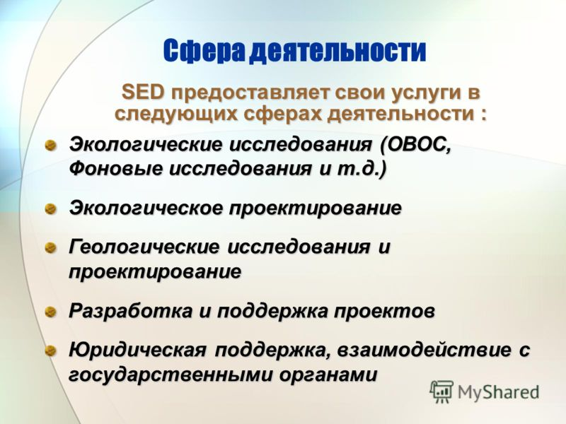 Сфера деятельности Экологические исследования (ОВОС, Фоновые исследования и т.д.) Экологическое проектирование Геологические исследования и проектирование Разработка и поддержка проектов Юридическая поддержка, взаимодействие с государственными органа