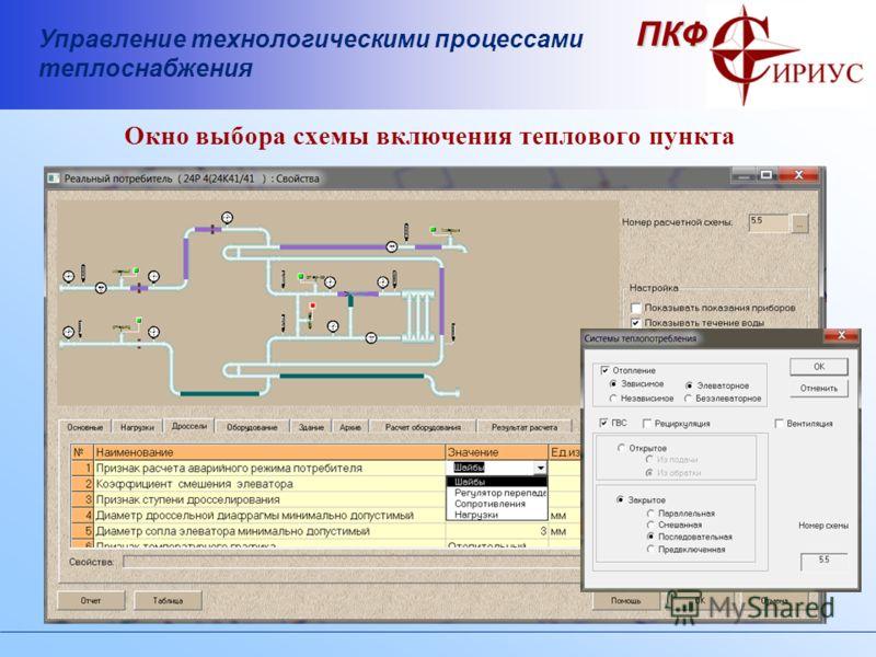 Управление технологическими процессами теплоснабжения ПКФ Окно выбора схемы включения теплового пункта