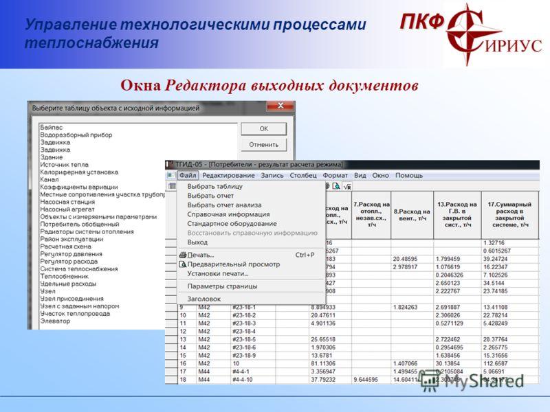 Управление технологическими процессами теплоснабжения ПКФ Окна Редактора выходных документов