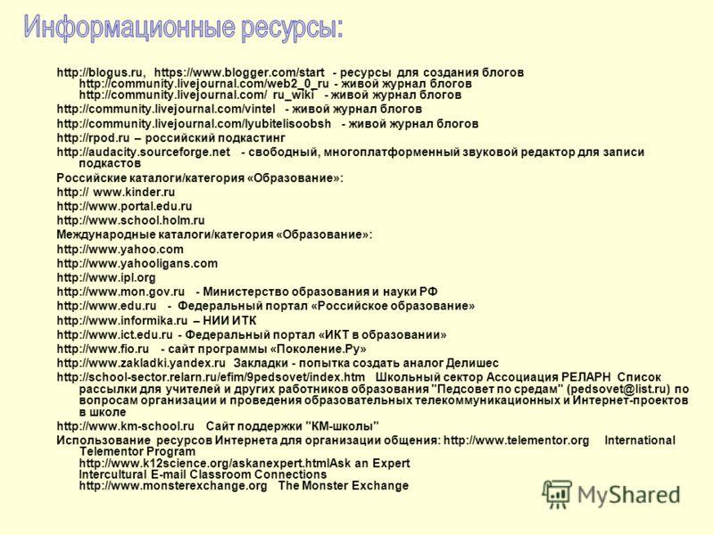 http://blogus.ru, https://www.blogger.com/start - ресурсы для создания блогов http://community.livejournal.com/web2_0_ru - живой журнал блогов http://community.livejournal.com/ ru_wiki - живой журнал блогов http://community.livejournal.com/vintel -