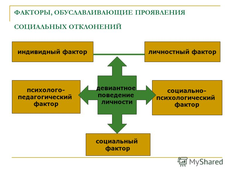 ФАКТОРЫ, ОБУСЛАВЛИВАЮЩИЕ ПРОЯВЛЕНИЯ СОЦИАЛЬНЫХ ОТКЛОНЕНИЙ индивидный факторличностный фактор социальный фактор психолого- педагогический фактор социально- психологический фактор девиантное поведение личности