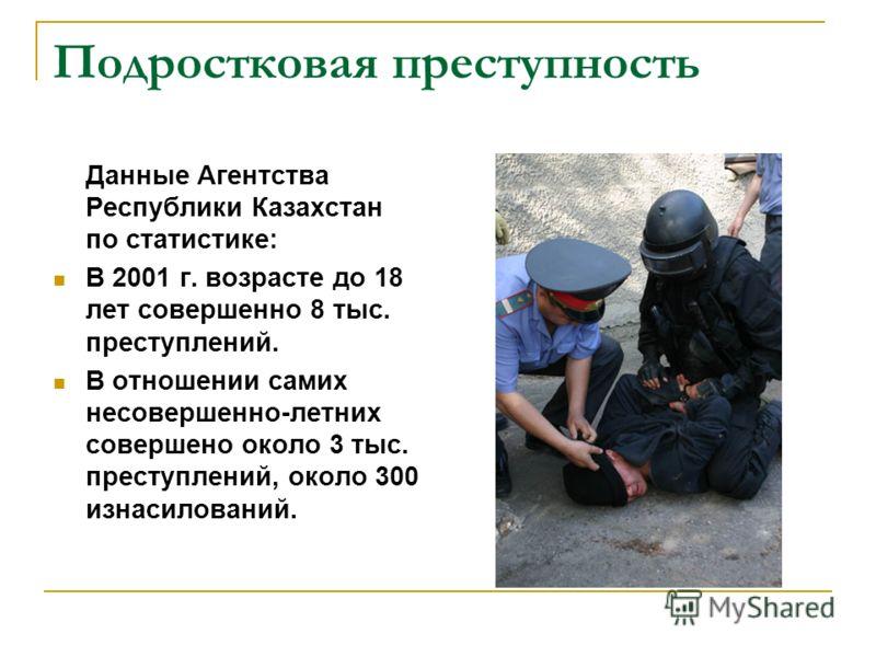 Подростковая преступность Данные Агентства Республики Казахстан по статистике: В 2001 г. возрасте до 18 лет совершенно 8 тыс. преступлений. В отношении самих несовершенно-летних совершено около 3 тыс. преступлений, около 300 изнасилований.