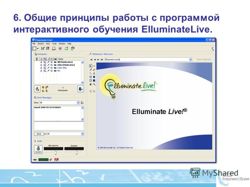 Page 18 6. Общие принципы работы с программой интерактивного обучения ElluminateLive.