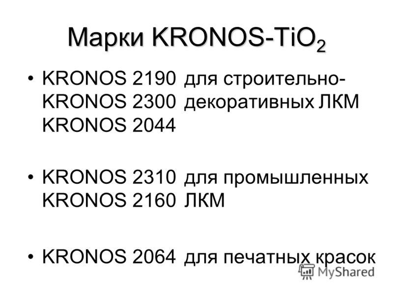 Марки KRONOS-TiO 2 KRONOS 2190для строительно- KRONOS 2300декоративных ЛКМ KRONOS 2044 KRONOS 2310для промышленных KRONOS 2160 ЛКМ KRONOS 2064для печатных красок