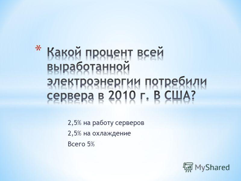 2,5% на работу серверов 2,5% на охлаждение Всего 5%