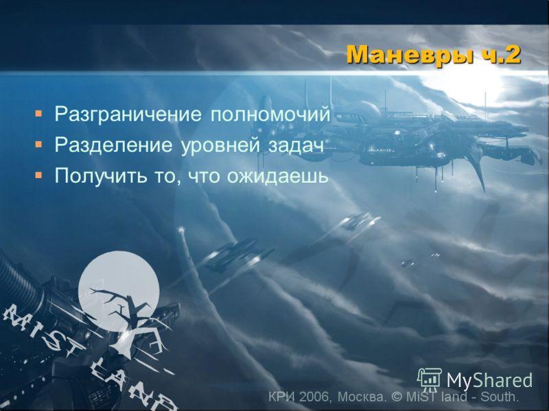 КРИ 2006, Москва. © MiST land - South. Маневры ч.2 Разграничение полномочий Разделение уровней задач Получить то, что ожидаешь