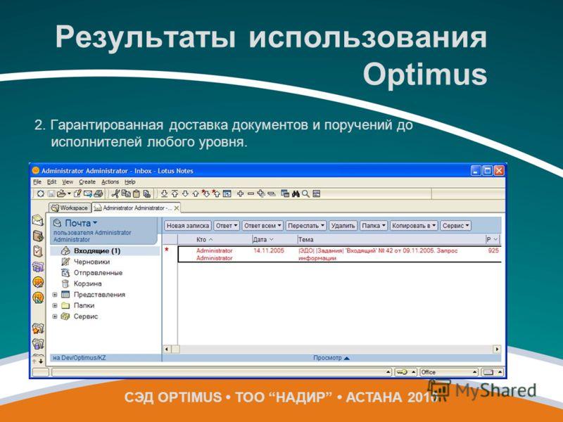 2. Гарантированная доставка документов и поручений до исполнителей любого уровня. СЭД OPTIMUS ТОО НАДИР АСТАНА 2010 Результаты использования Optimus