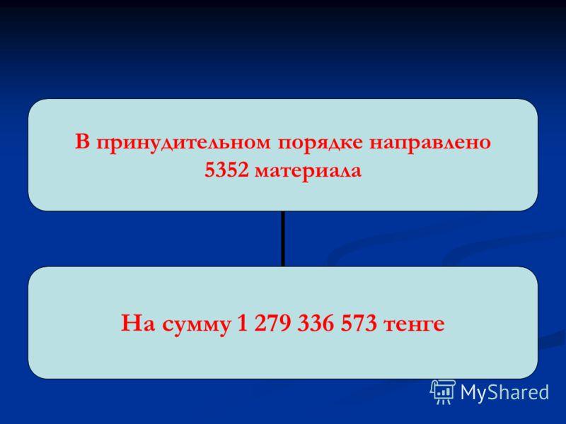 В принудительном порядке направлено 5352 материала На сумму 1 279 336 573 тенге