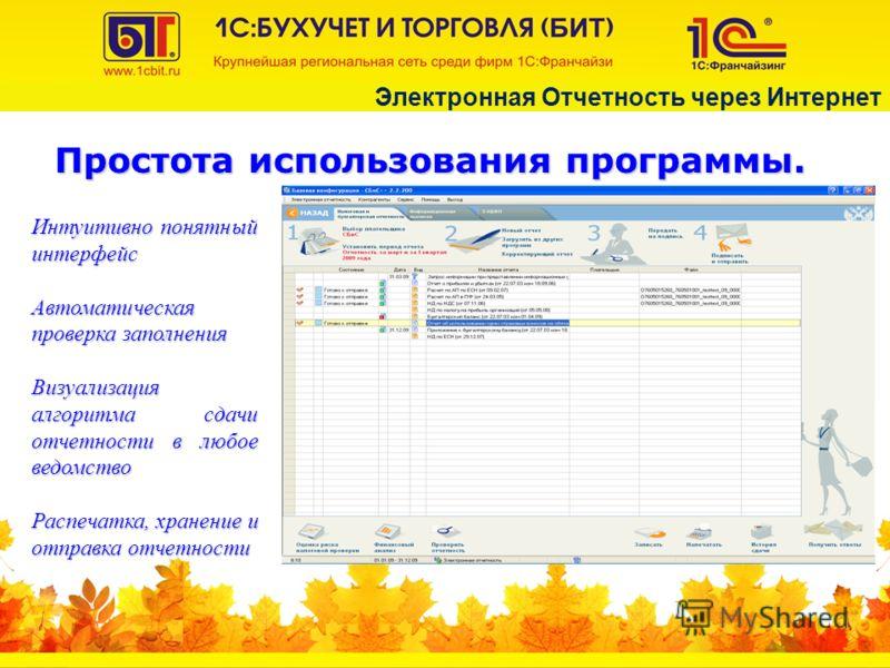 Простота использования программы. Интуитивно понятный интерфейс Автоматическая проверка заполнения Визуализация алгоритма сдачи отчетности в любое ведомство Распечатка, хранение и отправка отчетности Электронная Отчетность через Интернет