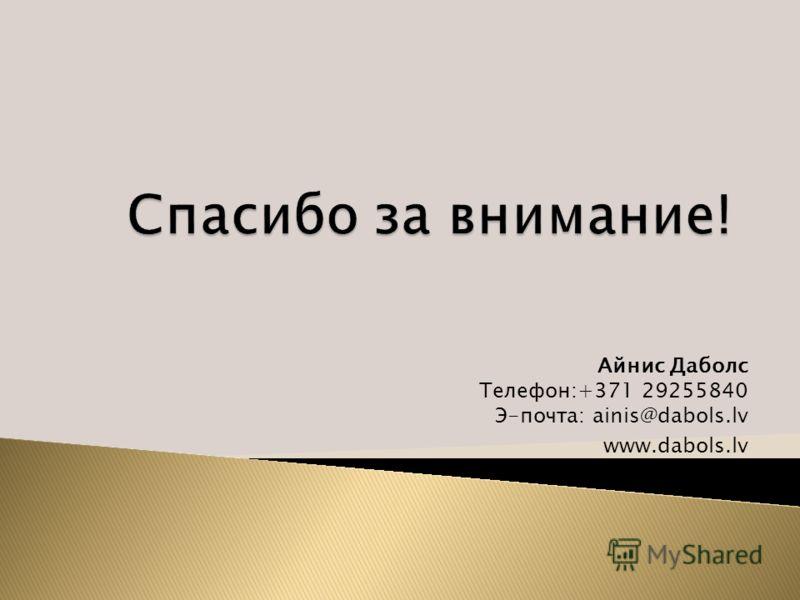 Айнис Даболс Телефон:+371 29255840 Э-почта: ainis@dabols.lv www.dabols.lv