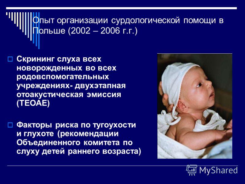 Опыт организации сурдологической помощи в Польше (2002 – 2006 г.г.) Скрининг слуха всех новорожденных во всех родовспомогательных учреждениях- двухэтапная отоакустическая эмиссия (TEOAE) Факторы риска по тугоухости и глухоте (рекомендации Объединенно