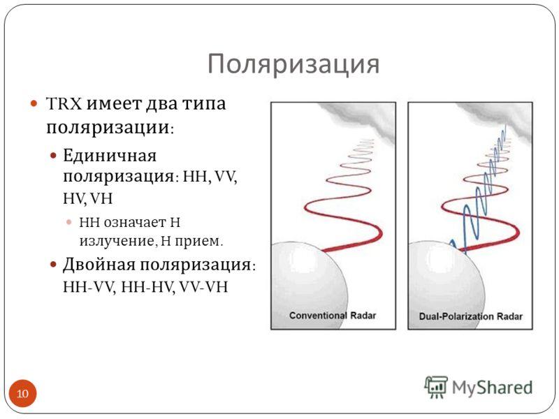 Поляризация TRX имеет два типа поляризации : Единичная поляризация : HH, VV, HV, VH HH означает H излучение, H прием. Двойная поляризация : HH-VV, HH-HV, VV-VH 10