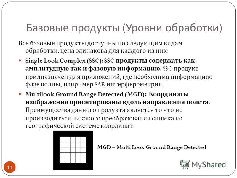 Базовые продукты ( Уровни обработки ) 11 Все базовые продукты доступны по следующим видам обработки, цена одинакова для каждого из них : Single Look Complex (SSC): SSC продукты содержать как амплитудную так и фазовую информацию. SSC продукт придназна