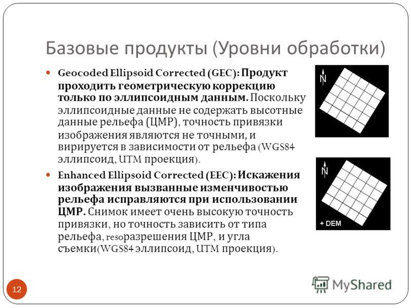 Базовые продукты ( Уровни обработки ) 12 Geocoded Ellipsoid Corrected (GEC): Продукт проходить геометрическую коррекцию только по эллипсоидным данным. Поскольку эллипсоидные данные не содержать высотные данные рельефа ( ЦМР ), точность привязки изобр